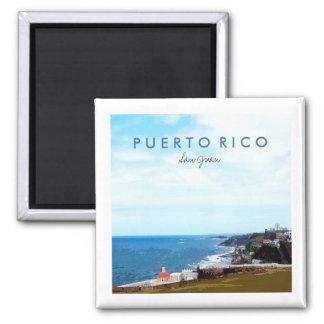 Visión desde el EL Morro, San Juan, Puerto Rico Imán Cuadrado