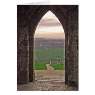 visión desde el tor de Glastonbury Tarjetón