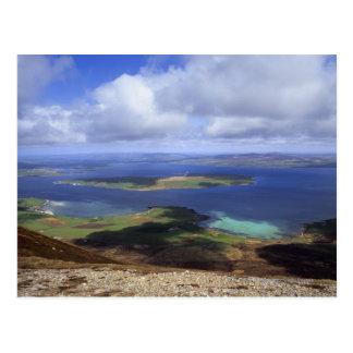 Visión superior: continente del sonido, graemsay y postal
