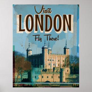 Visita Londres - mosca del vintage allí Póster