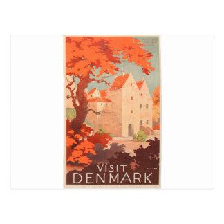 Visita retra Dinamarca del poster del vintage Postal