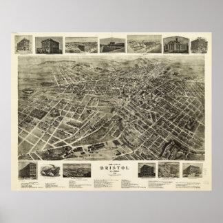 Vista aérea de Bristol, Virginia/Tennessee (1912) Póster