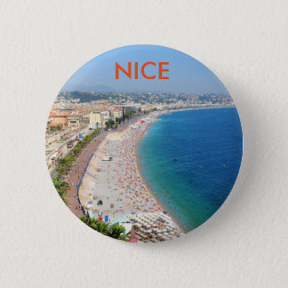 Vista aérea de la playa en Niza, Francia Chapa Redonda De 5 Cm