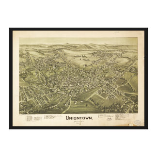Vista aérea de Uniontown, Pennsylvania (1897) Lienzo