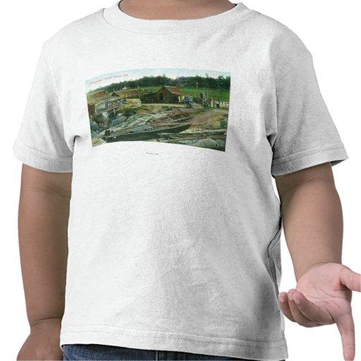 Vista de barcos en la playa en Chinatown Camisetas
