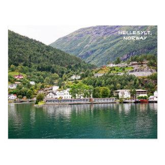 Vista de Hellesylt, Geirangerfjord, Noruega Postal