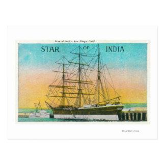 Vista de la estrella del barco de la India atracad Tarjeta Postal