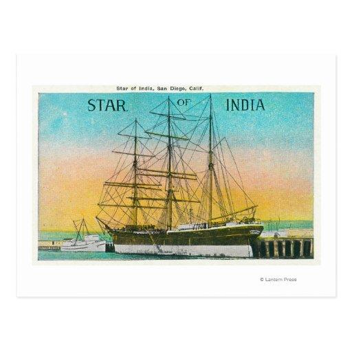 Vista de la estrella del barco de la India Tarjeta Postal