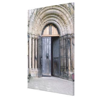 Vista de la puerta del norte de la catedral de Dur Impresion De Lienzo