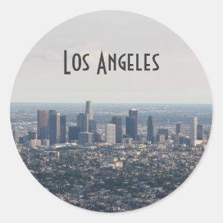 Vista de Los Ángeles céntrico Etiqueta Redonda