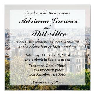 Vista de París de la colina de Montmartre Invitación 13,3 Cm X 13,3cm