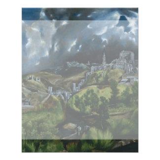 Vista de Toledo de El Greco Folleto 11,4 X 14,2 Cm