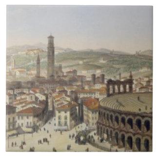Vista de Verona, grabada por L. Cherbuin (en del c Azulejo Cuadrado Grande