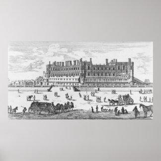 Vista del castillo francés de Santo-Germán-en-Laye Póster