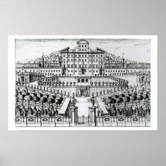 Vista del chalet Aldobrandini del jardín (en Póster