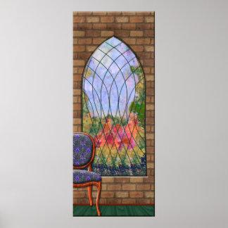 Vista del jardín a través de la ventana de la póster