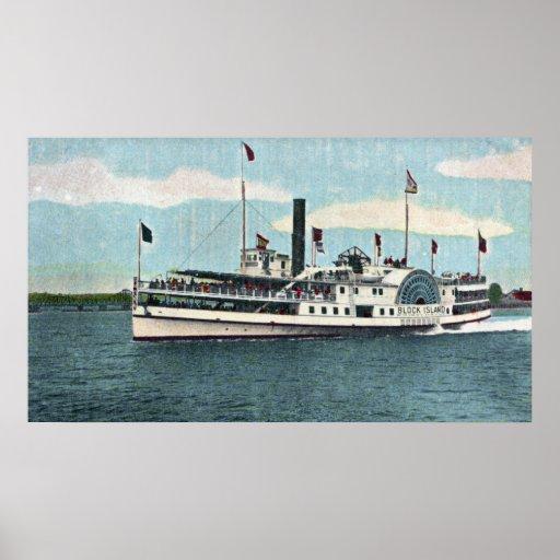 Vista del transbordador del Block Island Impresiones