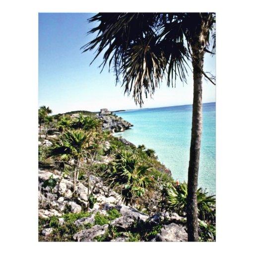 Vista distante del EL maya Castillo, Tulum Tarjetas Publicitarias
