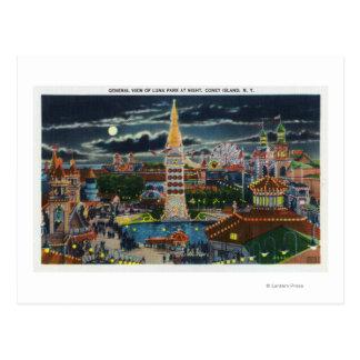 Vista general de Luna Park en la noche Postales