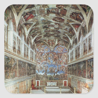 Vista interior de la capilla de Sistine Pegatina Cuadradas Personalizadas