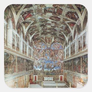 Vista interior de la capilla de Sistine Pegatina Cuadrada