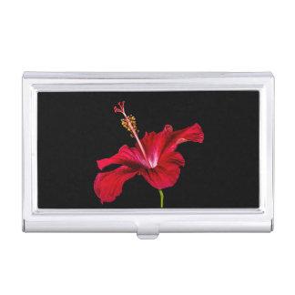 Vista lateral de la flor roja del hibisco caja de tarjetas de negocios