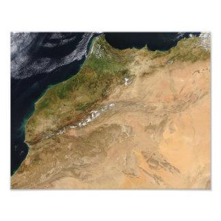 Vista por satélite de Marruecos Impresión Fotográfica