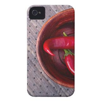 Vista superior de las pimientas de chile rojo funda para iPhone 4 de Case-Mate