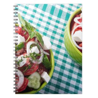 Vista superior del cierre vegetariano útil de la cuaderno