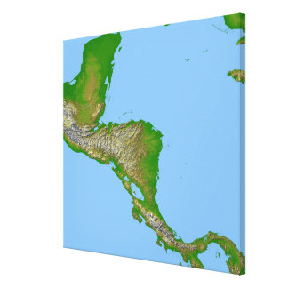 Vista topográfica de America Central Lona Envuelta Para Galerias