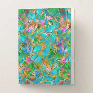 Vitral abstracto floral de la carpeta del bolsillo