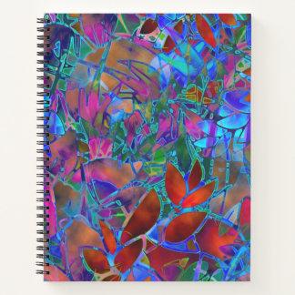 Vitral abstracto floral del cuaderno espiral