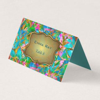 Vitral abstracto floral doblado de la tarjeta del