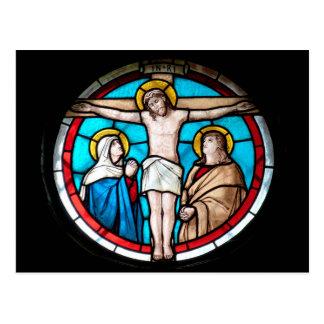 Vitral de la crucifixión postal