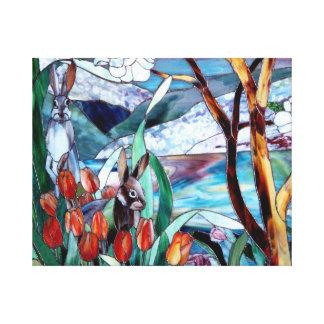 Vitral del jardín del conejo en arte envuelto de