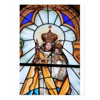 Vitral del Jesucristo del bebé del Virgen María Postal