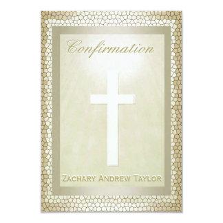 Vitral del oro de la confirmación invitación 8,9 x 12,7 cm