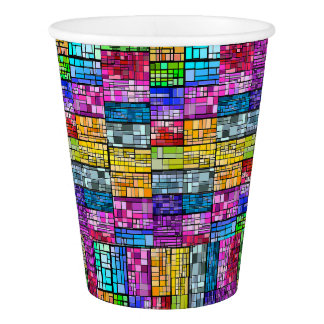 Vitral multicolor vaso de papel