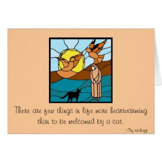 Vitral: Seraphim de la hermana con el gato y los Tarjeta De Felicitación