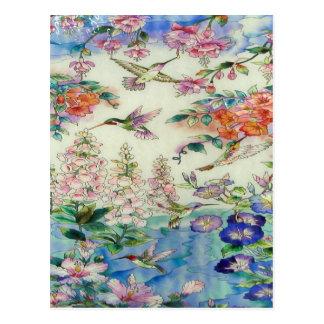 Vitral wow de las flores de los colibríes y del postal