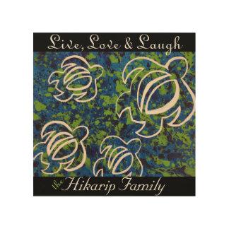 Viva, ame y ría; Lona azul de madera de la familia Impresión En Madera