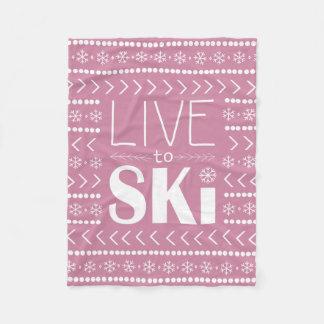 Viva para esquiar manta - rosa