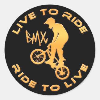 Viva para montar paseo para vivir BMX Pegatina Redonda