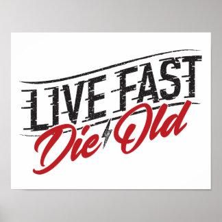 Viva rápido mueren impresión vieja del arte
