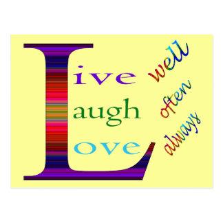 Vive bien, la risa a menudo, ama siempre postales