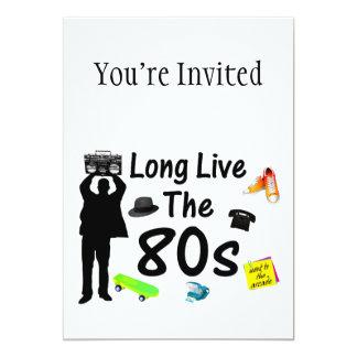 Vive de largo la cultura de los años 80 invitación 12,7 x 17,8 cm