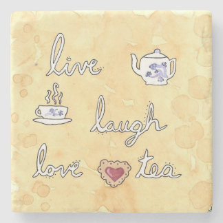 Vive el amor de la risa (el té) posavasos de piedra