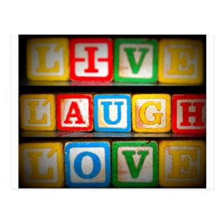 Vive el amor de la risa tarjeta postal