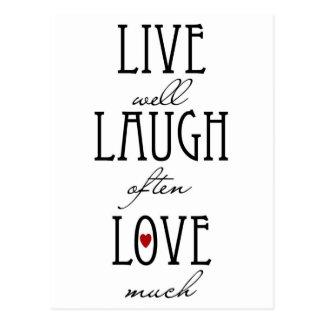 Vive el texto simple del amor de la risa tarjeta postal