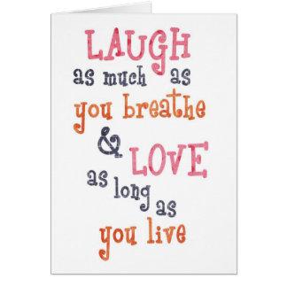 Vive la cita simple del amor de la risa tarjetón